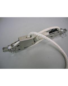 RVS Vioolblok + klem + enkelschijfs, talie-, neerhaler set, 6 - 8 mm