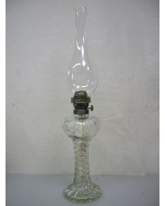 Tafellamp met voet, olielamp, glas