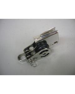 RVS Mini Blok + klem, dubbelschijfs, hondsvot, 6 - 8 mm