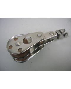 RVS Blok, 2-schijfs, draaiwartel, 10 - 12 mm
