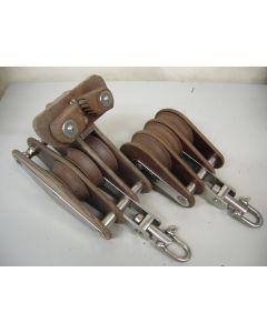 Grootschoot blokken set, 3 + 3-schijfs, draaiwartel, 14 - 16 mm