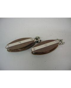 Klassieke Tufnol Blokken, enkelschijfs, hondsvot, draaiwartel, gaffelsluiting, 10 - 12 mm