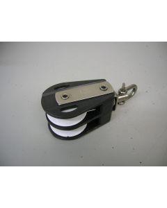 Blok, 2-schijfs, draaiwartel, 12 - 13 mm