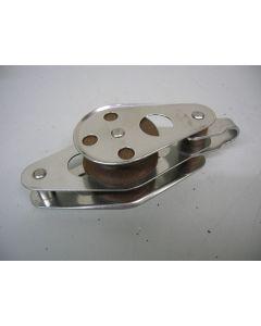 RVS Blok, 2-schijfs, hondsvot, 12 - 13 mm