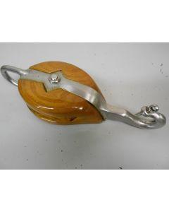 Klauwvalblok, 1-schijfs, hondsvot, haak, 12 - 14 mm, buitenbeslag