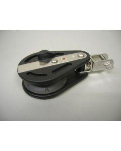 Ratelblok, 1-schijfs, kogellagers, draaiwartel/gaffelsluiting, tot 10 mm